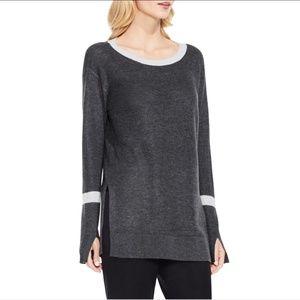Vince Camuto Waffle Knit Split Seam Sweater Sz L
